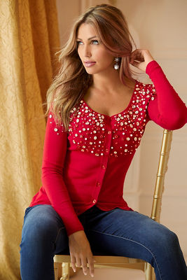 Embellished Button-Up Cardigan Sweater