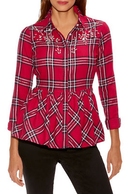 Embellished Plaid Peplum Shirt
