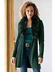 Faux-fur Collar Cable Cardigan Photo