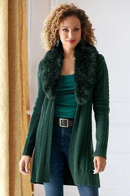 Faux-Fur Collar Cable Cardigan