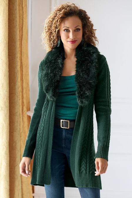 Faux-Fur Collar Cable Cardigan image