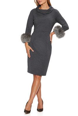 Faux-Fur Cuff Dress