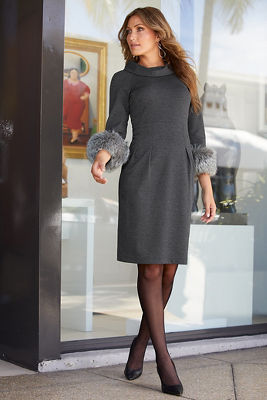 Faux-Fur Cuff Dress
