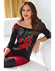 Floral Embroidered Boatneck Top Photo