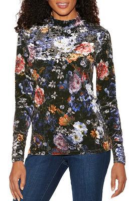 floral velvet mock-neck top
