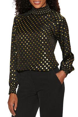high-neck dot blouse
