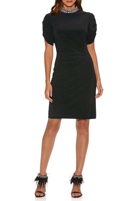 Jewel-Neck Ruched-Sleeve Dress image