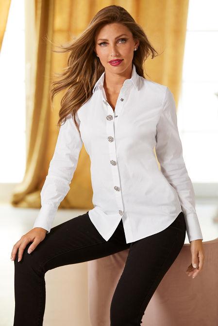 Jeweled Snap-Front Shirt image
