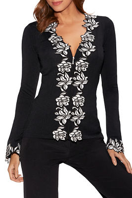 Lace Trim Zip-Front Sweater