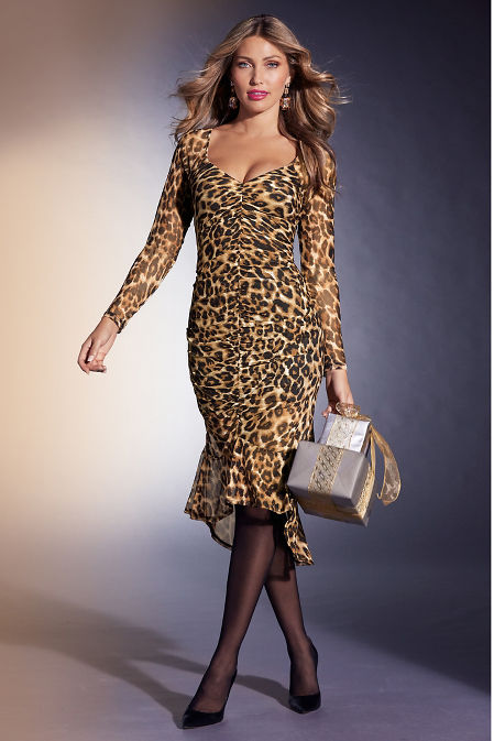 Long-Sleeve Mesh Animal-Print Dress image
