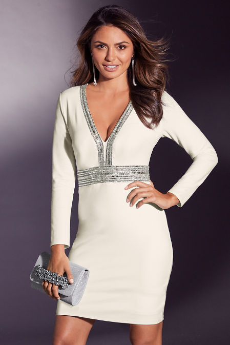 Long-Sleeve Embellished Dress image