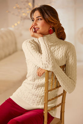 Mini Cable Funnel-Neck Sweater