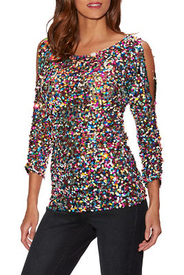 Multicolor Sequin Cold-Shoulder Top