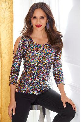 Multicolor Sequin Cold-Shoulder Top
