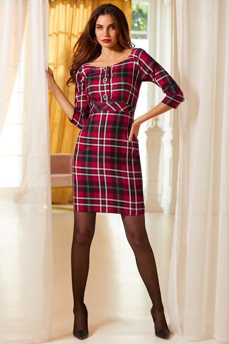 Plaid Brooch Dress image
