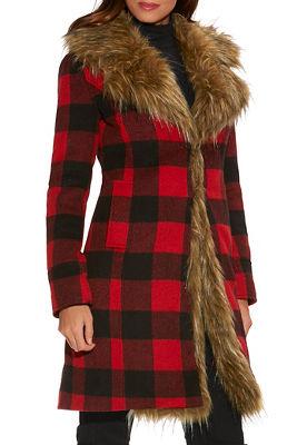 plaid faux-fur coat