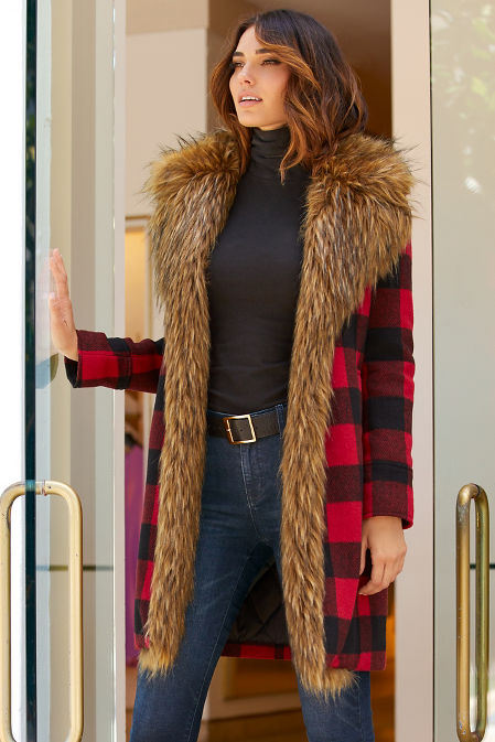 Plaid Faux-Fur Coat image