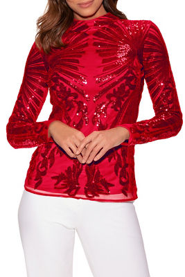 Sequin Mock-Neck Long-Sleeve Top