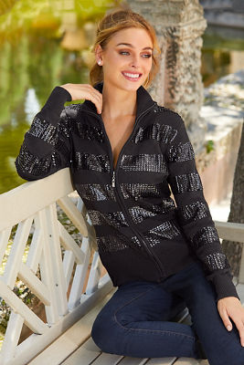 Sequin Zip Cardigan