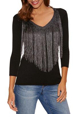 Shimmer Fringe Sweater