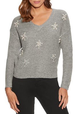snowflake embellished v-neck sweater