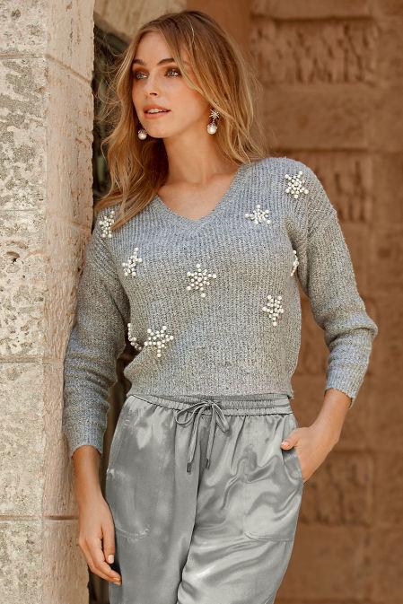 Snowflake Embellished V-Neck Sweater image