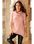 So Soft Button Detail Cowl Tunic Top Photo