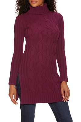 turtleneck cable tunic sweater