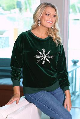 Velour Snowflake Sweatshirt