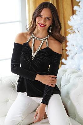 Velvet Pearl Detail Cold-Shoulder Top