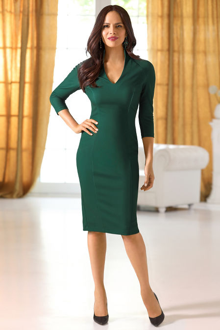 Three-Quarter Sleeve Classic Sheath Dress image