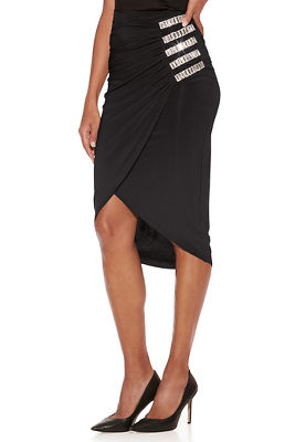 ruched embellished midi skirt