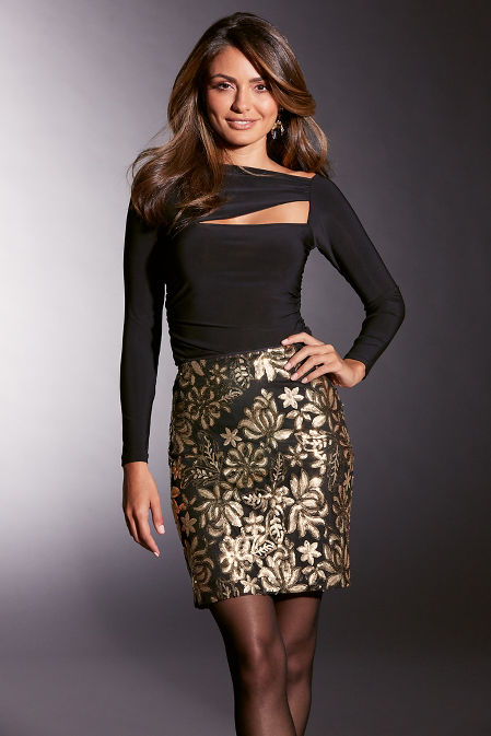 Sequin Above-the-Knee Skirt image