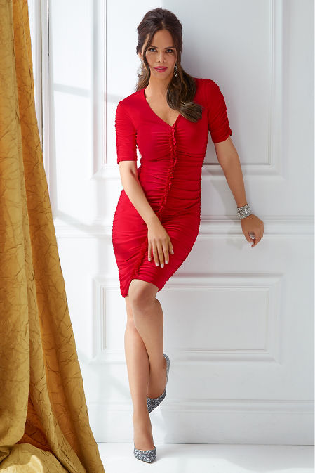 Ruched Elbow-Sleeve Dress image