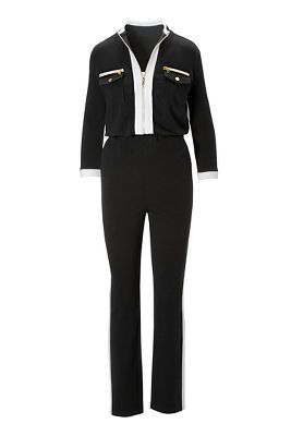 Three-Quarter Sleeve Chic-Zip Jumpsuit