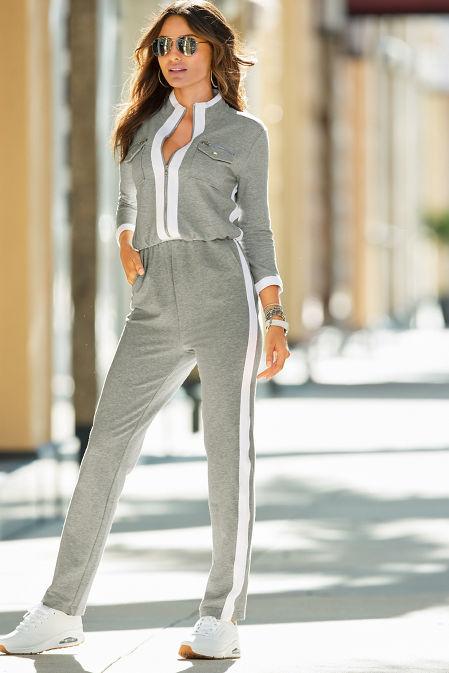 Three-Quarter Sleeve Chic-Zip Jumpsuit image