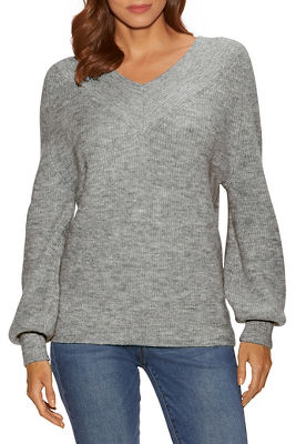 lurex double v ribbed-detail sweater