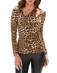 So Sexy™ Leopard Asymmetric Cutout Long-sleeve Top Photo
