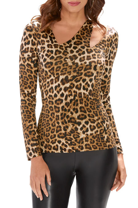 So Sexy™ Leopard Asymmetric Cutout Long-Sleeve Top image