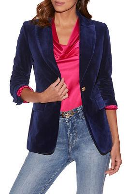 Velvet Single-Button Blazer
