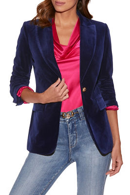 velvet single-button blazer