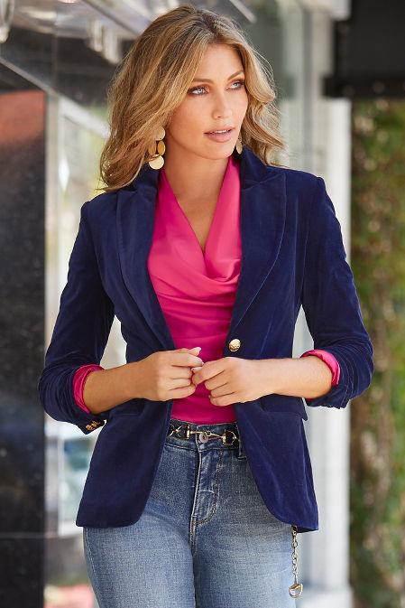 Velvet Single-Button Blazer image