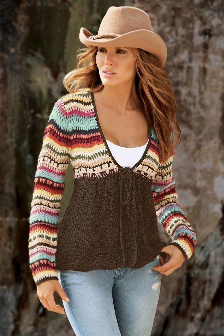 Crochet Tie Cardigan Sweater image
