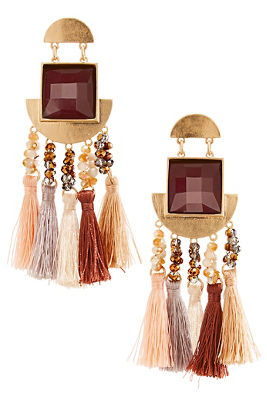 neutral beaded fringe earrings