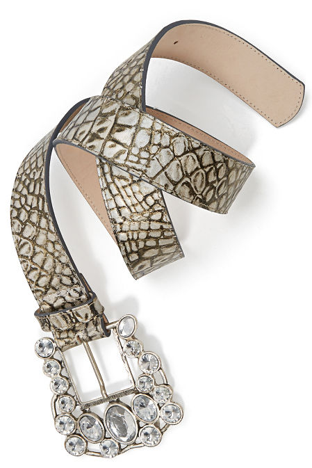 Crystal Buckle Croco Belt image