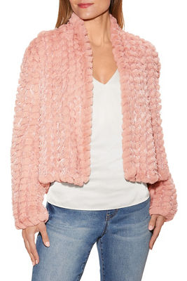shimmer faux-fur chubby jacket