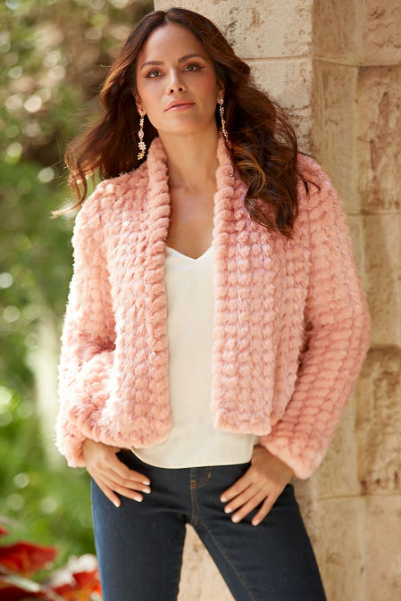 Shimmer Faux-Fur Chubby Jacket image