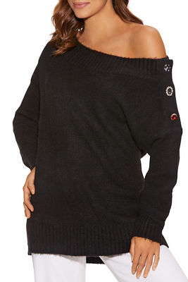 Gem Button Shoulder Sweater