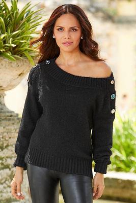 Gem Button Shoulder Sweater