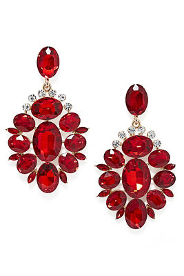red holiday drop earrings
